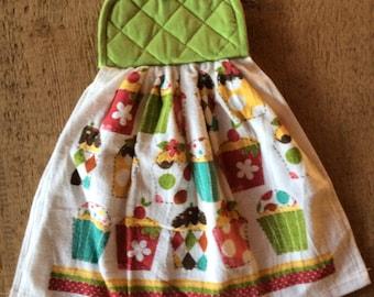 hanging towel, kitchen towel, handmade double sided dish towel, decorative towel, cupcake print theme