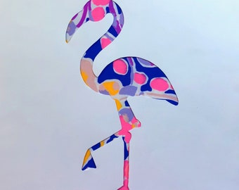 New custom Flamingo Pillow made with Lilly Pulitzer Catch and Release Fabric