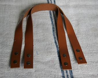 Handles of bag leather color CAMEL 50 CM