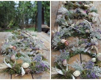 custom centerpiece wreath, antler wreath, dried flower centerpiece, lavender wreath, branch centerpiece, woodland wedding centerpiece, peony