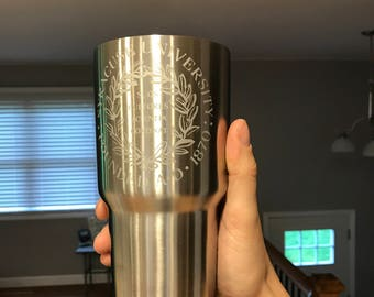 30oz Syracuse Engraved Stainless Steel Thermos Yeti Rambler RTIC Tumbler Ozark Trail Gift Personalized