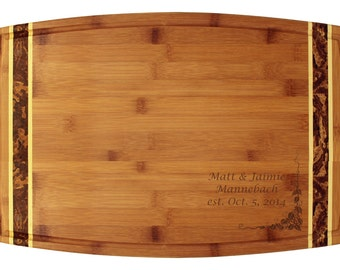 """Engraved Bamboo Cutting Board 18x11"""" - Marbled Inlay - Elegant Wedding Gift - Engraved Wood Board, with Inlay, with Your Custom Engraving"""