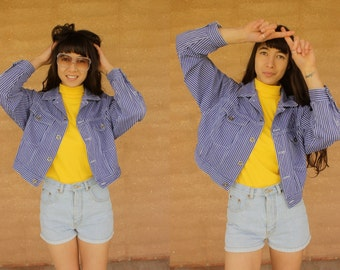 1990's cropped denim button up stripy jacket festival grunge