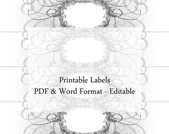 Soap Labels Editable Printable Custom Label Cigar Band Grayscale Floral Organic Vintage Design Handmade Soap Jar Pantry Container Cosmetic