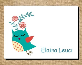 Set of Personalized Owl or Bird Folded Note Cards - Thank You Cards - Blank Cards - Stationery