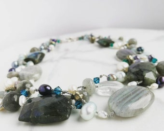 Statement necklace with Labradorite, Pyrite, Pearls, Aquamarine & Swarovski crystals. Hand-knotted multi-strand necklace