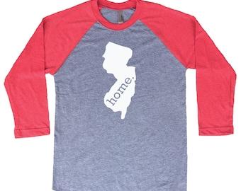 Homeland Tees New Jersey Home Tri-Blend Raglan Baseball Shirt