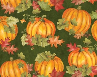 20% off thru 7/10 COLORS OF FALL tossed orange pumpkins leaves on green cotton print by the 1/2 yard Wilmington fabric-84412-787