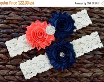 ON SALE Navy and Coral Bridal Garter Set, Navy and Coral Wedding Garter Set, Rustic Wedding, Lace Bridal Garter, Rustic Wedding Garter Set-S