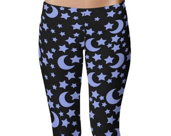 Star Leggings, Blue and Black Night Sky Yoga Pants, Moons and Stars Printed Tights, Space Leggings