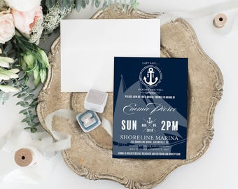 Nautical Bridal Shower Invitation - Printable Editable PDF 5x7 Invites Adobe Reader - Navy & White Boat and Anchor - 0001-N2