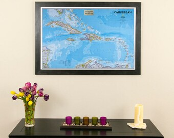 "Personalized Classic Caribbean Push Pin Travel Map -24""x36""- Caribbean Travel Map - Map of the Caribbean - Caribbean Pin Map - Caribbean Map"