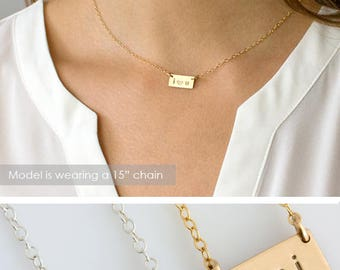 Mini Bar Necklace, Personalized Mini Initials Necklace, Tiny Initial Necklace, Gold Fill, Sterling Silver, Gift For Her, LEILA Jewelry, N218