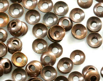 bead caps 2000 pcs 3 mm antique copper tone brass cambered circle tag middle hole charms ,findings, 401AC-50 tmlp