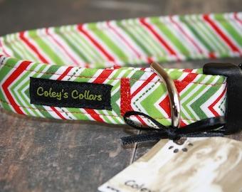 "Dog Collar ""Christmas Chevron"""