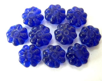 20 Beads, antique vintage glass beads, blue, 8mm