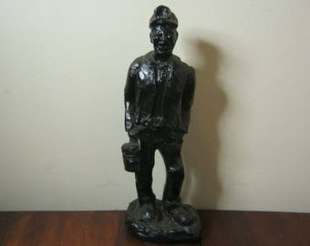 Hand Carved Coal Miner By J Kourey - Carved From Penna Coal - Limited Edition