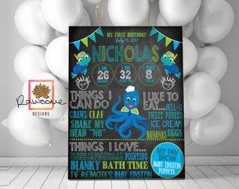 Baby Einstein Birthday - Birthday Chalkboard Sign {ANY AGE} - Totally customizable