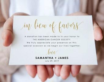 In Lieu of Card-In Lieu Of Favors Card-Donation Card-In Lieu of Favors Cards-Enclosure Card-Insert Card-Wedding Donation Card-SN022ILG