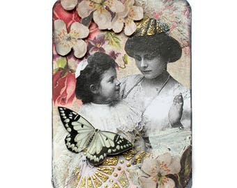 "Original ATC ACEO ""Mothering"" Pretty floral shabby chic #002"