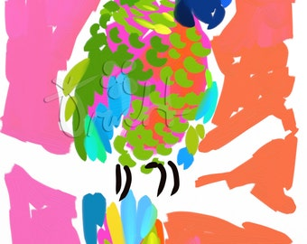 Art Print 11x14 Green Parrot Pink by artist Kelly Tracht, Art Poster Painting Key West Style Art Item #4G