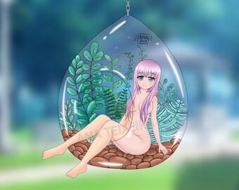 Anime witch digital art print