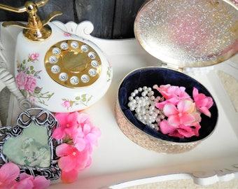 Oval Silver Jewelry Box, Ornate Baroque Style Scrolls, Navy Velvet Interior, Metal Jewelry Storage, Decorative Box