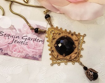 Jet Black Pendant Necklace ~ Assemblage Jewelry ~ Vintage Necklace ~  Vintage Filigree ~ Upcycled Jewelry ~ Repurposed Jewelry ~ FREE SHIP