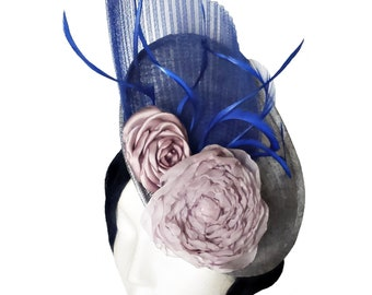 Silver and blue sinamay fascinator with pale pink flowers. Wedding headpiece. Race day hat. Feather hat. Saucer fascinator hat. Cocktail hat