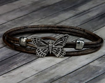 Butterfly Leather Bracelet - Leather Bracelet - Leather Wrap Bracelet - Womens Leather Bracelet - Butterfly Jewelry - Butterfly - Bracelet