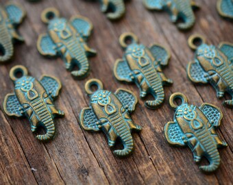 Ganesha: Green Patina over Brass Lord Ganesha Charm, 16x23mm, 2 pcs / Inspirational Charms, Protection Pendants, Hindu, Yogi Jewelry