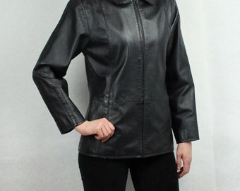 Vintage Leather Jacket Women's Black Leather Jacket Real Leather Coat Genuine Leather Coat Rocker Fetish Zipper Sealing Medium Size