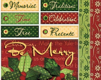 Christmas Titles Tags Borders Bo Bunny  Cardstock Scrapbook Stickers Embellishments Card Making