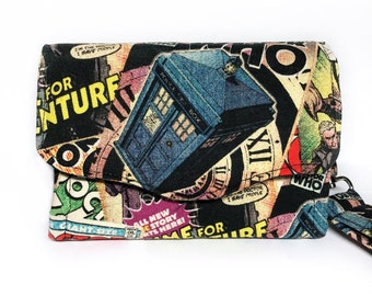 Doctor Who wallet, handmade wallet, Father's Day Gift, birthday gift, teacher gift, accordion wallet, boho chic, gift for her, Whovian gift