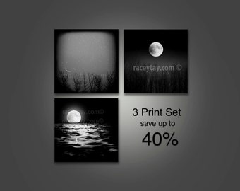 SALE, Moon Prints, Nature Photography,  Black and White Photography, Set of 3 Prints