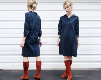 Vintage 50s AnR Jr Navy Blue All Over Checkered Pattern Cropped Sleeve Mid Length Collared Shift Dress S