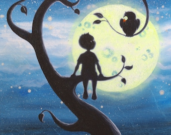 """Reproduction 45 x 60 canvas """"The child and the OWL"""""""