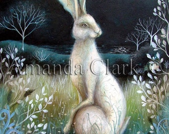 A fairytale  art print titled' Hare by Night'. By Amanda Clark.