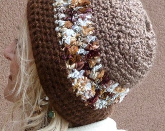 Bohemian hat, brown ponytail hat, unique winter hat with a tail,  warm, chic and quality created, ski in a fun hat
