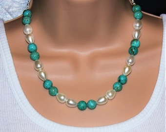 White Shell Pearl and Turquoise Blue Magnesite Necklace - Blue Statement Necklace - Silver Plated  Chain  & 'S' Clasp