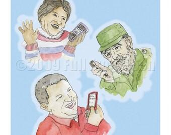 Hugo, Evo and Fidel, The Three Twittering Amigos Print