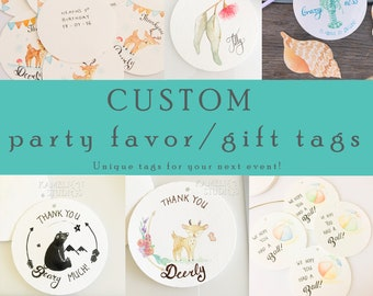 CUSTOM Party Favor Tags, Party decor, Thank you tags, Birthday party, Event decor, Keepsake, Wedding Favor, 1st Birthday, swing tags