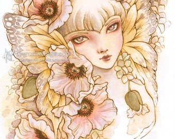 White Poppy and Butterfly Wings - Free Shipping to US - Big Eye Elf Fairy - Fantasy Illustration Print 5 x 7 - by Mitzi Sato-Wiuff