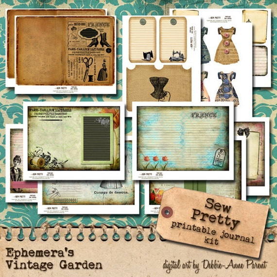 Sew Pretty - 5 x 7 Printable Journal Kit
