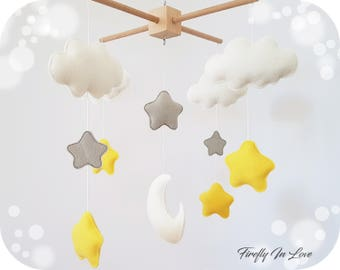 Moon Star and Cloud Mobile - Nursery Mobile Clouds – Gender Neutral Colors – Moon Mobile – Hanging mobile – Moon Cot Mobile – Baby Mobile
