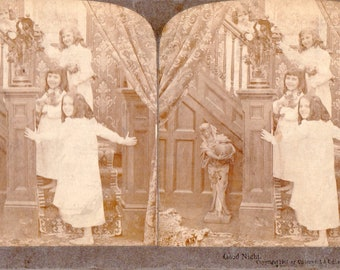 """Four Girl's Going Upstairs to Bed """"Good Night"""" Underwood Stereoview Photo"""