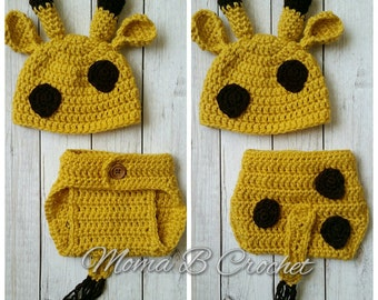 Crochet Giraffe Baby Set, Giraffe Hat, Giraffe Photo Prop Set, Photo Prop Set, Photo Prop Baby Set, Giraffe Costume, Giraffe Baby Set