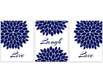 CANVAS Home Decor Wall Art, Live Laugh Love, Blue Flower Wall Art PRINTS, Flower Burst Bathroom Wall Decor, Blue Bedroom Wall Art - HOME107