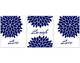 CANVAS Home Decor Wall Art, Live Laugh Love, Blue Flower Wall Art PRINTS,  Flower Burst Bathroom Wall Decor, Blue Bedroom Wall Art   HOME107