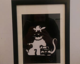 A4 banksy style spray art - rat dude